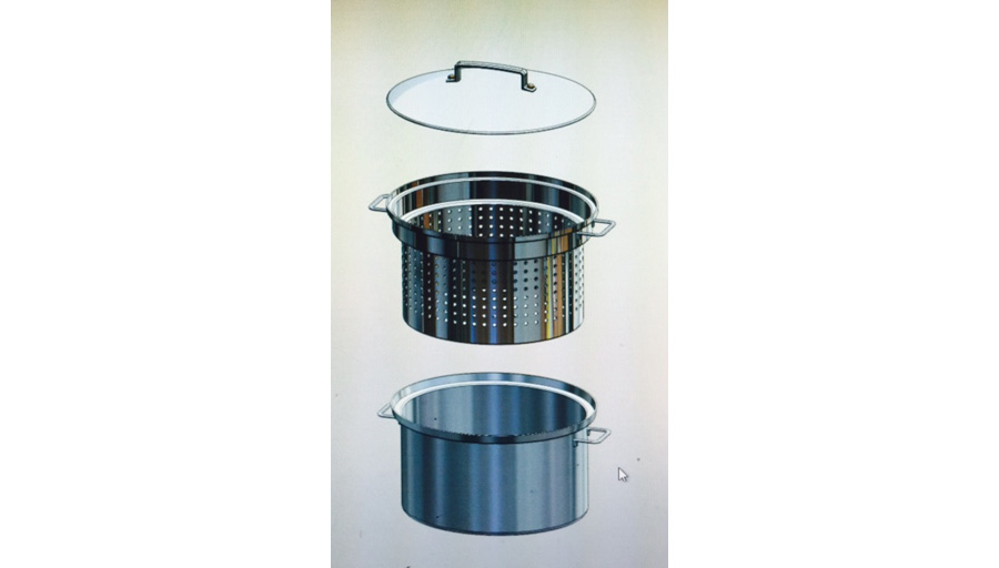 Oblong Cooking Container with Strainer Basket